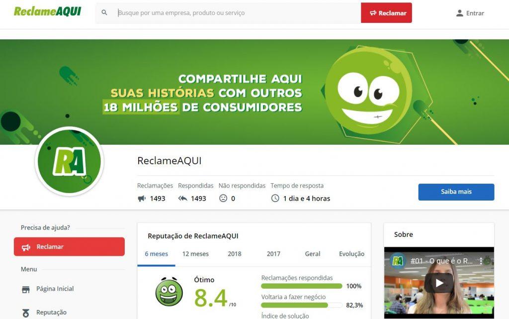 Reprodução do que é a RA Brand Page, pegando como exemplo a própria página do Reclame AQUI.